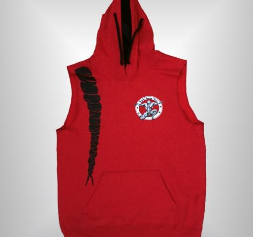 "Sleeveless ""Logo and Locks"" Hoodie (Red)"